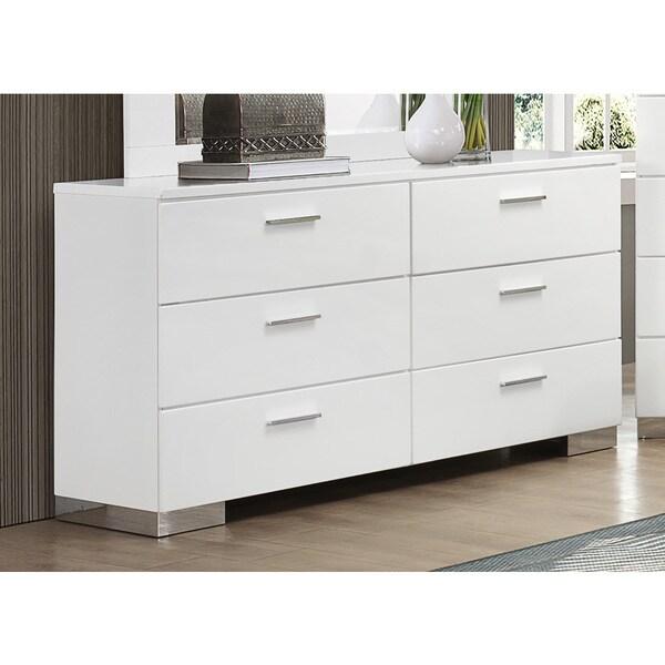 Shop Coaster Company Felecity White/Chrome Wood Dresser