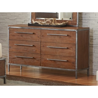 Eclectic Brown and Grey Wood and Metal Dresser