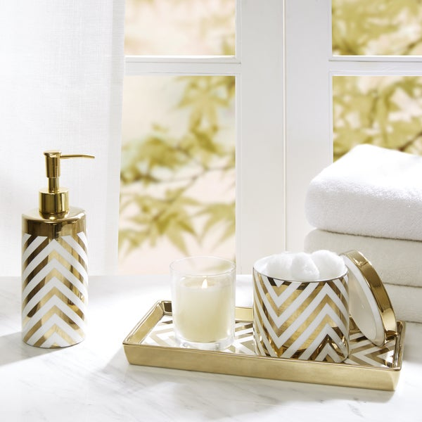 Madison park gold silver chevron 3 piece ceramic bath for Gold bathroom accessories sets
