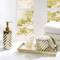 Madison Park Gold/Silver Chevron 3 Piece Ceramic Bath Accessory Set 2-Color Options