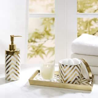 Madison Park Gold Silver Chevron 3 Piece Ceramic Bath Accessory Set 2 Color Options