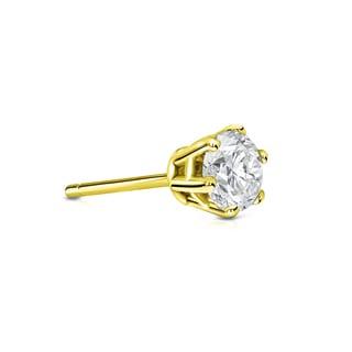Auriya 14k Gold 1/4ct TDW Round-Cut Diamond 6-Prong Push-Back Single Stud Earring (I-J, SI2-SI3)