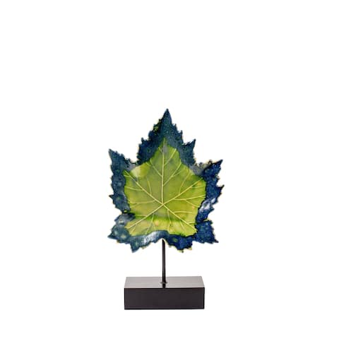 Privilege Green Ceramic 21-inch Leaf on Wood Stand