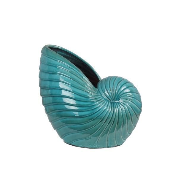 Privilege International Turquoise Blue Ceramic Large Seashell