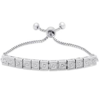 Finesque Silver Overlay Diamond Accent Greek Key Design Adjustable Slider Bracelet (I-J, I2-I3)