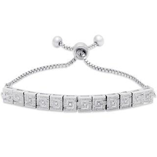 Finesque Silver Overlay Diamond Accent Greek Key Design Adjustable Slider Bracelet