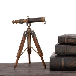 Urban Designs Davy Brass Wooden Tabletop Telescope