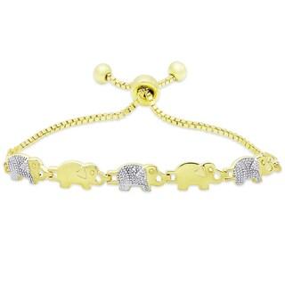 Finesque Gold Overlay Diamond Accent Elephant Adjustable Slider Bracelet (I-J, I2-I3)