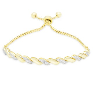 Finesque Gold or Silver Overlay Diamond Accent Adjustable Slider Bracelet (I-J, I2-I3)