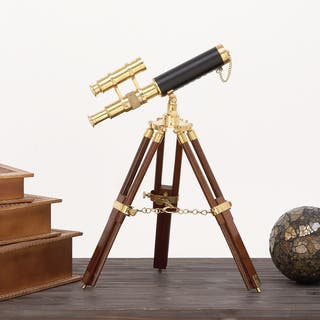 Urban Designs Hector Goldtone/Brown Brass and Wooden Tabletop Telescope|https://ak1.ostkcdn.com/images/products/12508603/P19316159.jpg?impolicy=medium