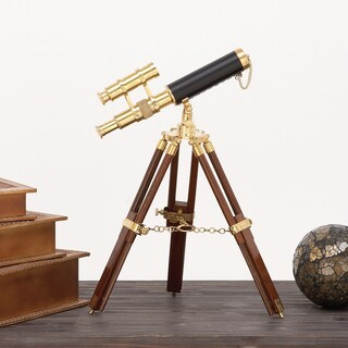 Urban Designs Hector Goldtone/Brown Brass and Wooden Tabletop Telescope
