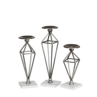 Privilege Nickel Iron Candleholders (Pack of 3)