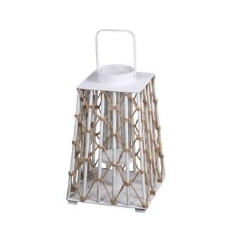 Privilege International White Wood Medium Lantern