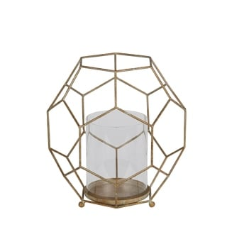 Privilege International Gold Metal/Glass Large Candle Holder