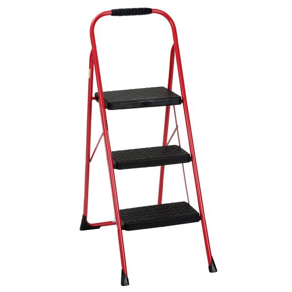 COSCO Three Step Big Step Folding Step Stool with Rubber Hand Grip