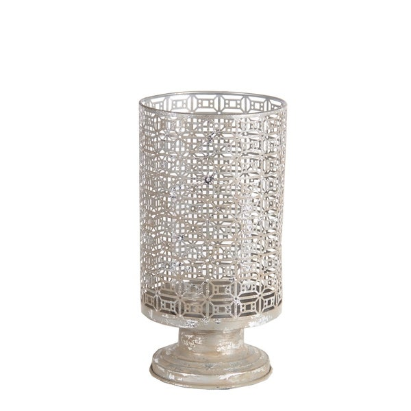 Privilege Silver-colored Iron Large Candle Holder