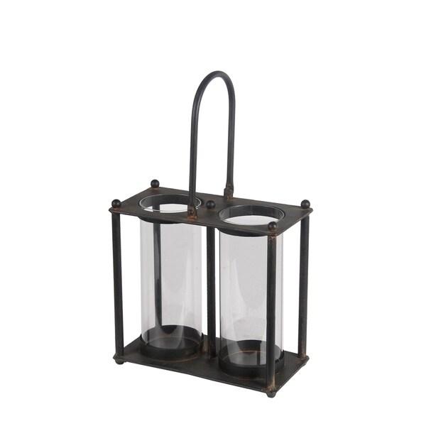 Privilege international black iron double lantern free for Decor products international