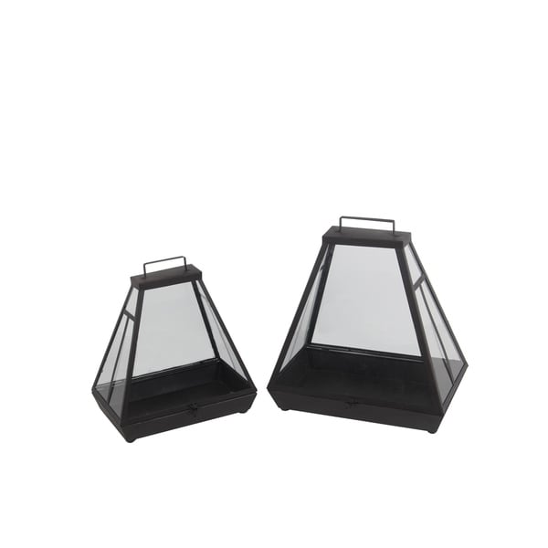 Privilege International Black Metal 2-piece Lantern Set