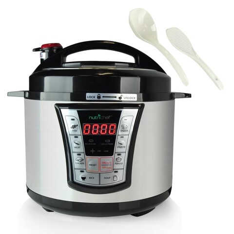 NutriChef PKPRC66 Black Stainless Steel and Teflon Multi-Function Food Prep Pressure Cooker/Rice Cooker