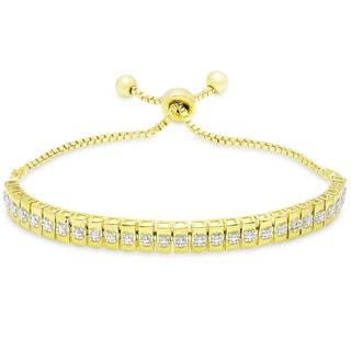 Finesque Gold Overlay Diamond Accent Line Adjustable Slider Bracelet (I-J, I2-I3)