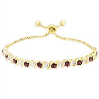 Dolce Giavonna Gold Overlay Ruby and Diamond Accent Adjustable Bolo Bracelet