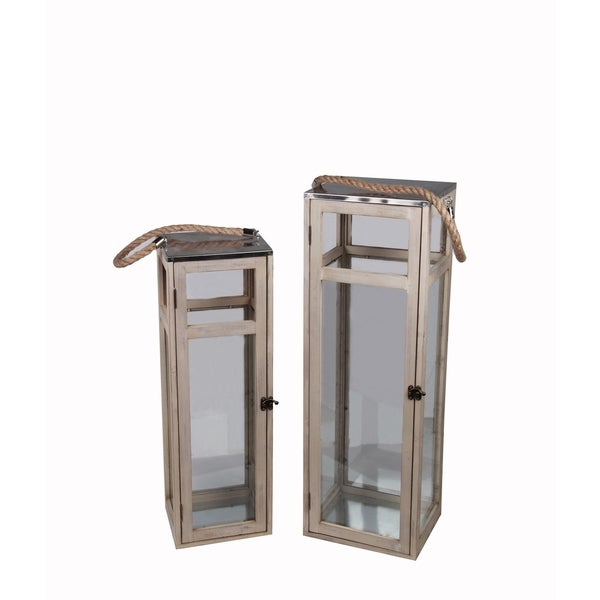 Privilege Wood/Metal Lanterns (Set of 2)