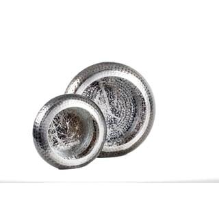Privilege Silvertone Metal Candleholders (Set of 2)