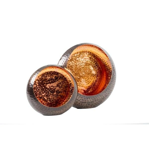 Privilege International Gold Copper Candle Holder Set (Set of 2)