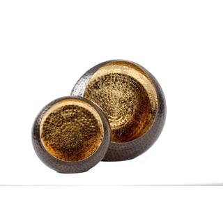 Privilege Goldtone Metal Candleholders (Set of 2)