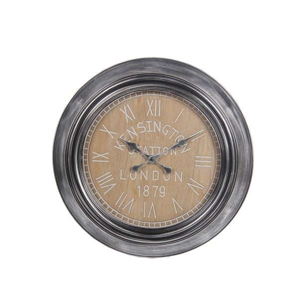Privilege Grey Metal Clock with Wood Facing