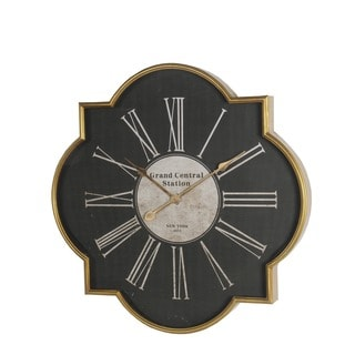 Privilege International Black/Gold Iron Wall Clock
