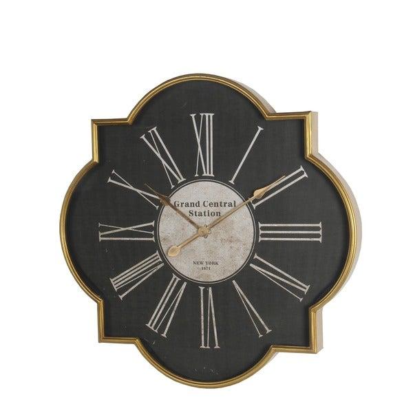 Privilege International Black/Gold Iron Wall Clock