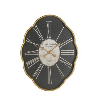Privilege 'Grand Central Station' Gold-bordered Black Iron Wall Clock