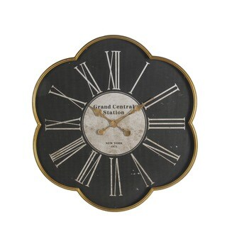 Privilege International Black and Gold Iron 'Grand Central Station' Wall Clock