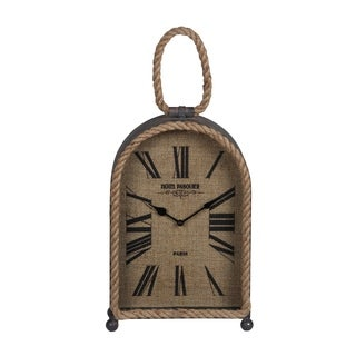 Privilege Brown Wooden Table Clock with Rope