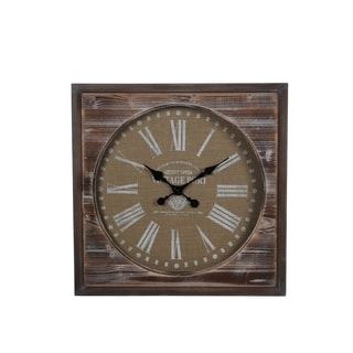 Privilege International Brown Wood Square Wall Clock
