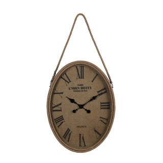 Privilege International Brown Wood and Glass Wall Clock With Rope