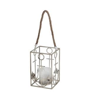 Privilege International White Metal/Glass Anchor Candle Lantern