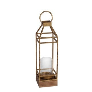 Privilege International Gold Leaf Metal Large Candle Lantern