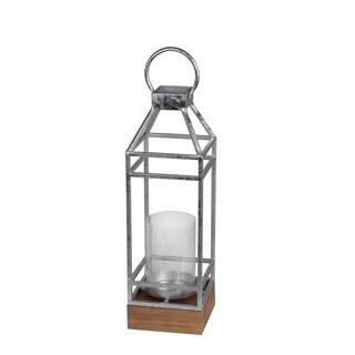 Privilege International Silver Leaf Metal/Glass Small Candle Lantern