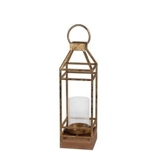 Privilege International Gold Leaf Metal/Glass Small Candle Lantern
