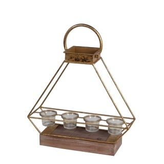 Privilege Gold Metal Small Lantern With 4 Glass Candle Holders