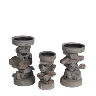 Privilege International Grey Wood Organic Candle Holders (Set of 3)