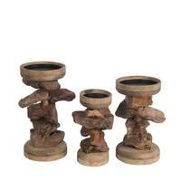 Privilege 3-piece Brown Organic Candle Holder Set