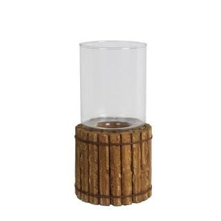 Privilege Organic Brown Wood/Glass Candle Lantern