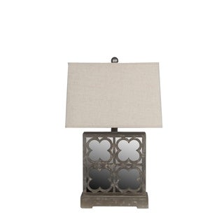 Privilege International Grey Wooden Mirrored Table Lamp