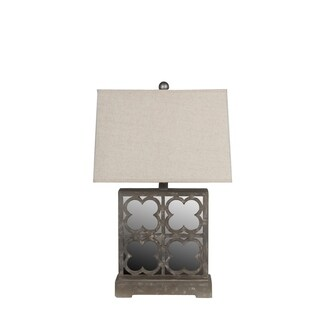 Privilege International Grey Wooden Mirrored Table Lamp
