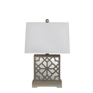 Privilege International Wooden Mirrored Table Lamp