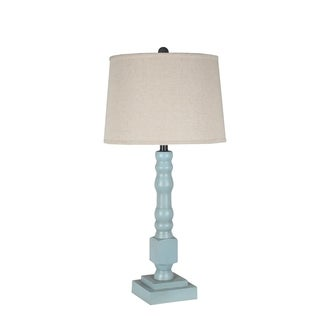 Privilege Blue/Beige Wooden Table Lamp