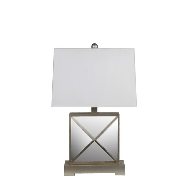 Privilege International Beige Wood Mirrored Table Lamp
